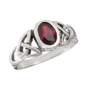 925 Petite Celtic Ring with Synthetic Garnet